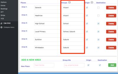 Cab Grid Pro Destination Groups