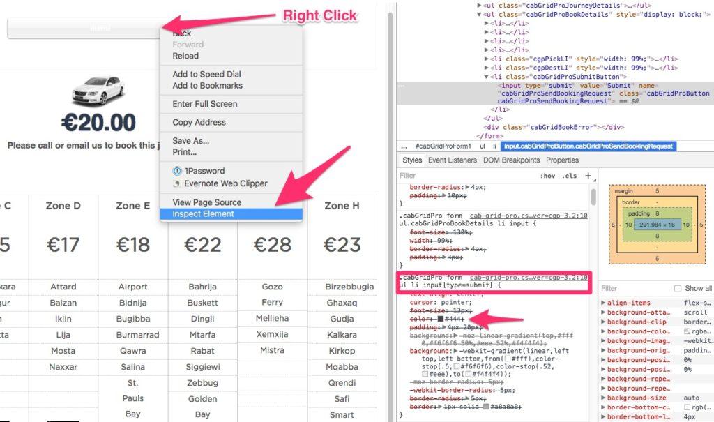Inspect CSS