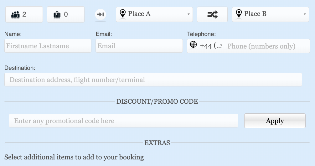 Make Built-in Cab Grid Pro Booking Form Fields Optional